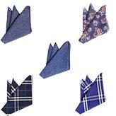 TopTie Men's Grid Cotton Pocket Squares Handkerchiefs Wedding Goods 5 Pack