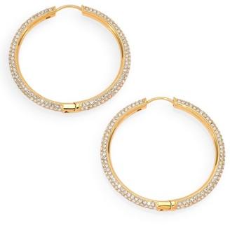 "Adriana Orsini 18K Yellow Goldplated & Crystal Pave Hoop Earrings/1.4"""