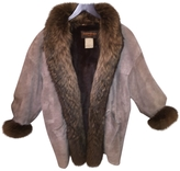 Saint Laurent sheared beaver lined suede jacket with fox tail trim
