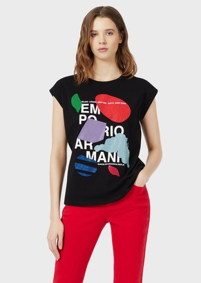 Emporio Armani T-Shirt With Logo And Micro Studs