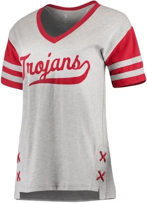 Unbranded Women's Heathered Gray USC Trojans Opal Side Lace Boyfriend T-Shirt