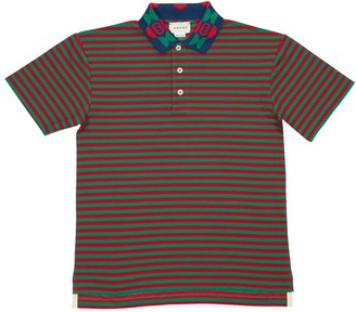 Gucci Striped Cotton Piquet Polo Shirt