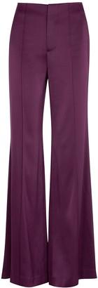 Alice + Olivia Dylan purple wide-leg satin trousers