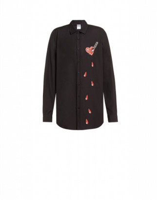 Moschino Bleeding Heart Poplin Shirt Man Black Size 40 It
