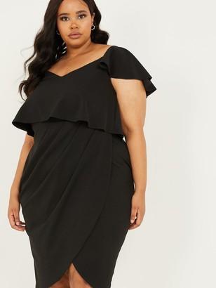 Quiz Curve Scuba Crepe Double Layer Wrap Midi Dress - Black