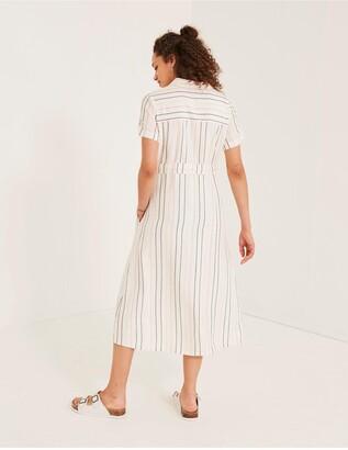 Fat Face Fatface Carey Stripe Shirt Midi Dress - Ivory