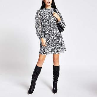 River Island Black printed pleated long sleeve swing dress