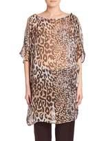 Natori Shadow Leopard Silk Tunic - Shadow Leopard, Size xs [x-small]
