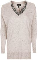 Topshop Longline nep lace v-neck knitted jumper