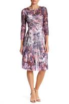 Komarov 3/4 Sleeve Printed Keyhole Dress (Petite)