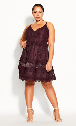 City Chic Nouveau Lace Dress - plum