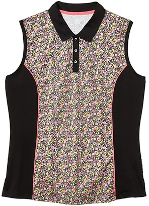Callaway Sleeveless Vent Printed Ditsy Floral Polo (Caviar) Women's Clothing
