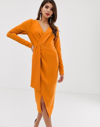Asos Design DESIGN long sleeve wrap midi dress with belt detail