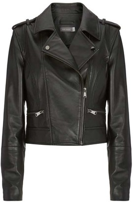 Mint Velvet Black Cropped Leather Jacket
