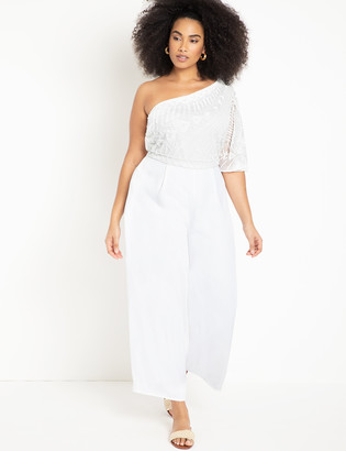 ELOQUII One Shoulder Jumpsuit with Lace
