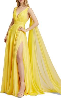 Mac Duggal Thigh Slit Grecian Chiffon Gown