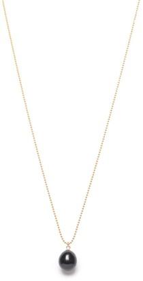 Ora Pearls Black Pearl Drop Pendant Gold Chain