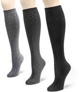Muk Luks Womens 3-pk. Microfiber Knee-High Socks
