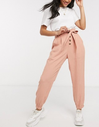 American Eagle paper bag waist carrot trousers in pink