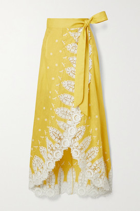 Miguelina Clarice Crochet-trimmed Embroidered Linen Wrap Skirt - Yellow