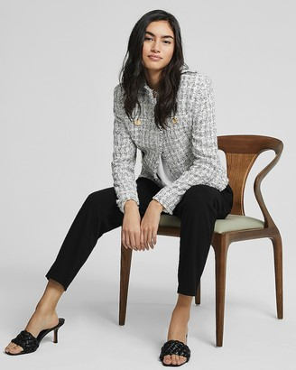 Express Padded Shoulder Tweed Blazer