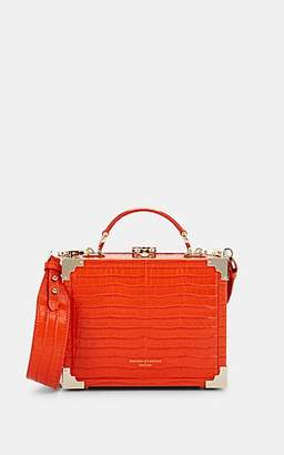 Aspinal of London Women's Mini Crocodile-Stamped Leather Trunk Bag - Orange