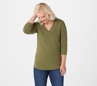 Denim & Co. Essentials Jersey V-Neck 3/4 Sleeve Top