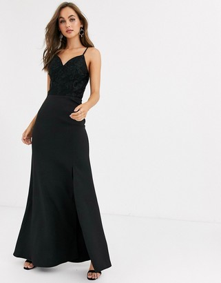 Chi Chi London lace detail maxi dress with fishtail skirt in black
