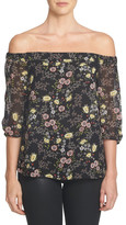 1 STATE 1.State Floral Print Chiffon Off-the-Shoulder Shirt