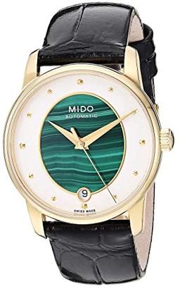 MIDO Baroncelli Wild Stone Yellow Gold PVD Case and Black Leather Strap - M0352073646100 (Malachite) Necklace