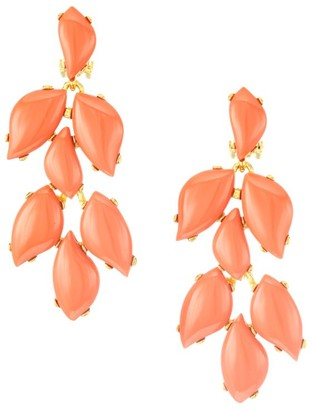 Kenneth Jay Lane Coral 22K Goldplated Drop Earrings