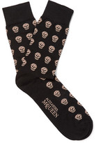 Alexander McQueen Skull-Patterned Stretch Cotton-Blend Socks