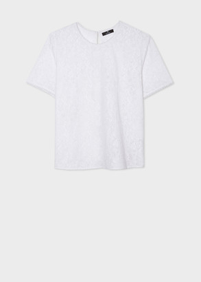 Paul Smith Women's White Floral Embroidered Cotton Top