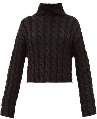 Balenciaga High-neck Cable-knit Sweater - Black