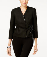 Nine West Tweed Faux-Leather Tie-Waist Jacket