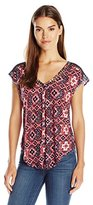 Lucky Brand Women's Inset Lace Top in