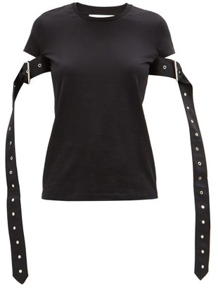 Marques Almeida Belted-sleeves Cotton-blend Jersey T-shirt - Black