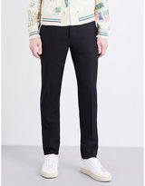 Alexander Mcqueen Leopard-trim Regular-fit Wool And Silk-blend Trousers