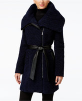 Cole Haan Faux-Leather-Trim Asymmetrical Bouclé Coat