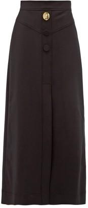 Ellery Homework Crepe A-line Midi Skirt - Womens - Black
