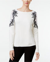 INC International Concepts Petite Lace-Trim Sweater, Only at Macy's