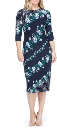 Maggy London Mixed Print Knit Dress