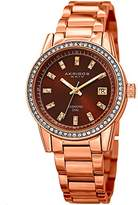 Akribos XXIV Women's Genuine Diamond Hour Markers on a Sunburst Dial and Crystal Accented Bezel on Rose-Tone Stainless Steel Bracelet Watch AK928RGBR