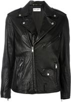 Saint Laurent classic biker jacket - women - Cotton/Lamb Skin/Polyurethane/Cupro - 36