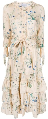 Luisa Beccaria Floral Print Ruffle Trim Dress
