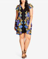 City Chic Trendy Plus Size Pixel-Print Tunic Dress