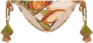 Agua de Coco Printed Tasseled-String Bikini Bottom