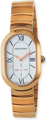 Philip Stein Teslar Mini Modern Oval Watch with Bracelet Strap, Rose Gold