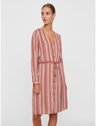Vero Moda Striped Button-Through Shift Dress in Knee-Length with Long Sleeves