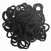 Seamless 8mm High Elastic Cotton stretch Hair Ties Bands Rope Ponytail Holders Headband Scrunchie Hair Accessories No Slipping Snagging Breaking or Stretching Out(100pcs) (Black)